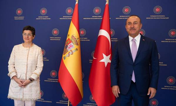 Spanish Foreign Minister Arancha Gonzalez Laya meets with Turkish Foreign Minister  Mevlut Cavusoglu - Credit: Spain MFA/Twitter