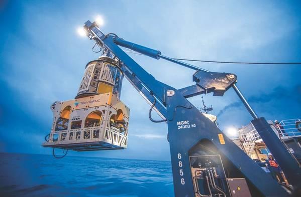 ROV Surveys: a TechnipFMC ROV during launch (Photo: TechnipFMC)