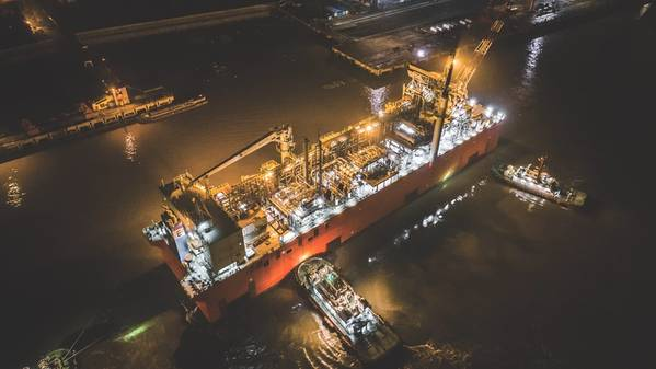 Tango FLNG departing from China to Argentina in late 2018 (Source: EXMAR)