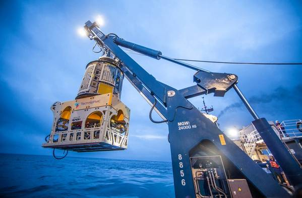 A TechnipFMC Remotely Operated Vehicle (ROV) is deployed to provide subsea services / Copyright TechnipFMC