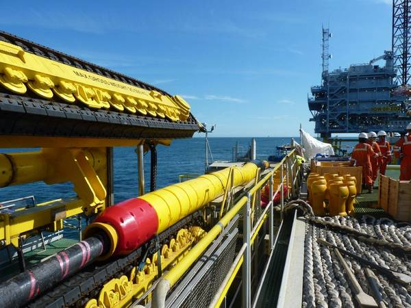 Tekmar Cable Protection System on the back of a Jan De Nul Group vessel installing an offshore wind project. (Photo: Tekmar)