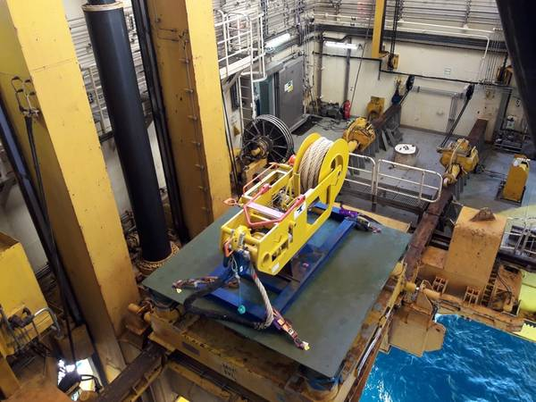 A tensioner component of the TVO Wellhead Fatigue Mitigation System in the moonpool ready for installation. (Photo: Trendsetter Vulcan Offshore)