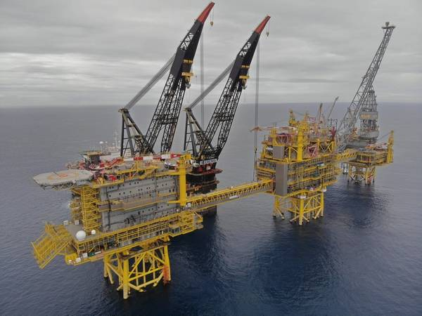 Topsides being installed in 2018 at the Culzean field (Photo: Total)