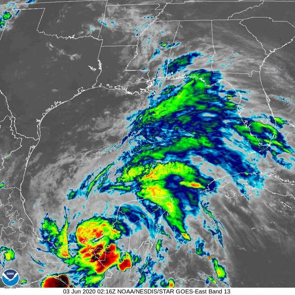 Tropical Storm Cristobal formed Tuesday afternoon and was circulating in the Bay of Campeche off the coast of Mexico (Image: NOAA)