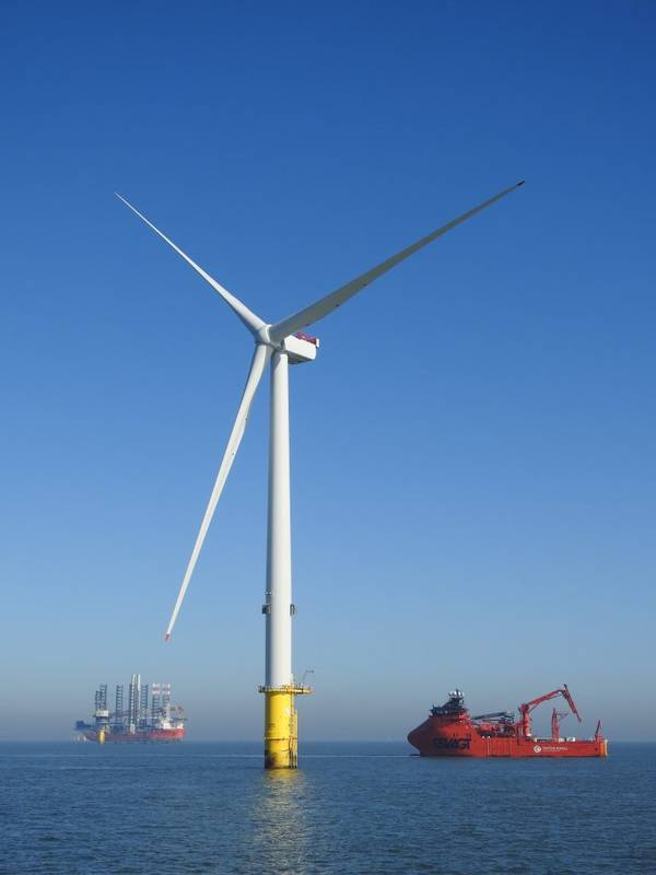 Turbine installed at Triton Knoll offshore wind farm, Photo credit: Ian Greenwood / Shared by Triton Knoll