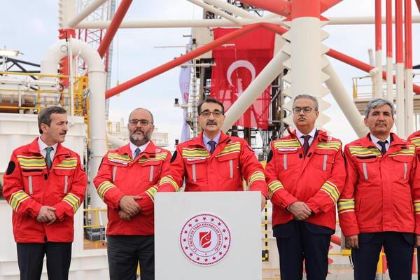 Turkey's Energy Minister Fatih Donmez speaks at a drilling launch event in late 2018. Donmez said the country would continue its offshore drilling exploration activities as part of Turkey's aim to be energy independent. (Photo: Turkey Ministry of Energy and Natural Resources)