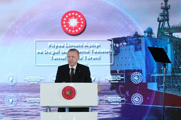 Turkish President Tayyip Erdogan announcing discovery of more gas in the Black Sea earlier in June - Credit: Turkish Gov't Directorate of Communications