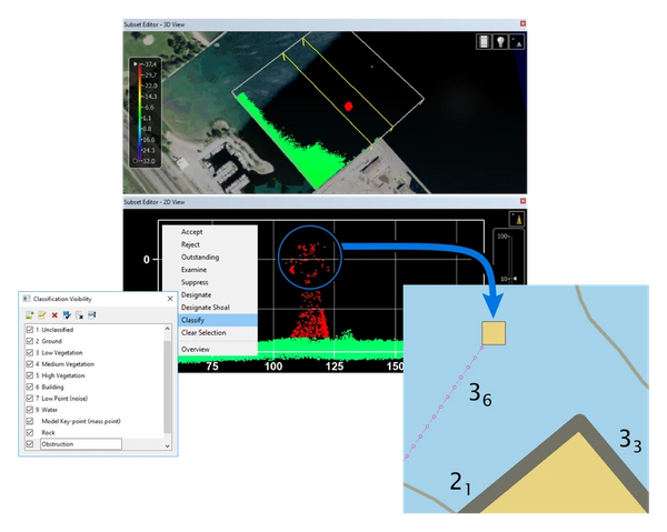 Update Chart Features with Bathymetric Lidar (Image Insert: Lidar to chart in BASE Editor)