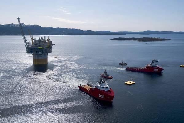 DOF vessels Skandi Vega and Skandi Iceman involved in offshore operations (Photo courtesy of Equinor, by Espen Roennevik, Roar Lindefjeld)