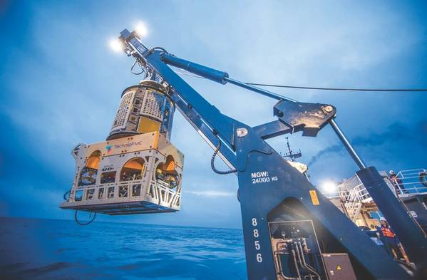 Έρευνες ROV: ένα TechnipFMC ROV κατά τη διάρκεια της εκτόξευσης (Φωτογραφία: TechnipFMC)
