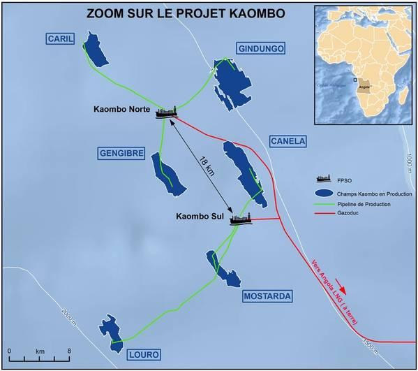 Η πλήρης ανάπτυξη του Kaombo αποτελείται από έξι πεδία που κατανέμονται σε έκταση 800 km2. Οι Gengibre, Gindungo και Caril συνδέθηκαν με το Kaombo Norte FPSO το οποίο ξεκίνησε πέρσι, ενώ τα τρία πεδία, Mostarda, Canela και Louro, συνδέθηκαν τώρα με το Kaombo Sul. (Εικόνα: Σύνολο)