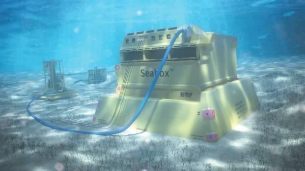 Система подводной очистки воды Seabox, расположенная на морском дне. (Изображение: NOV)