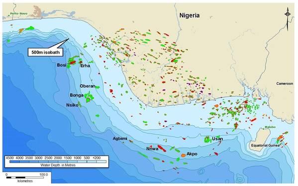 حقول النفط في نيجيريا تظهر حقل النفط Agbami الذي NNPC هو شريك مشترك. (الصورة: هندسة Telci)
