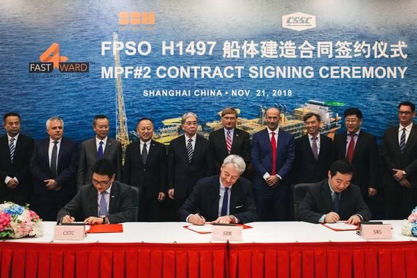 अनुबंध हस्ताक्षर समारोह 21 नवंबर, 2018 को एसडब्ल्यूएस ऑफशोर में एसबीएम ऑफशोर के प्रतिनिधियों के साथ हुआ, जिसमें ब्रूनो चाबास (सीईओ), बर्नार्ड वैन लेगेलो (चीन मैनेजिंग डायरेक्टर) और सरजन सेनिक (महाप्रबंधक चीन), साथ ही लेई फैनपेई , सीएसएससी बोर्ड के अध्यक्ष और वांग क्यूई, एसडब्ल्यूएस बोर्ड के अध्यक्ष। (फोटो: एसबीएम ऑफशोर)