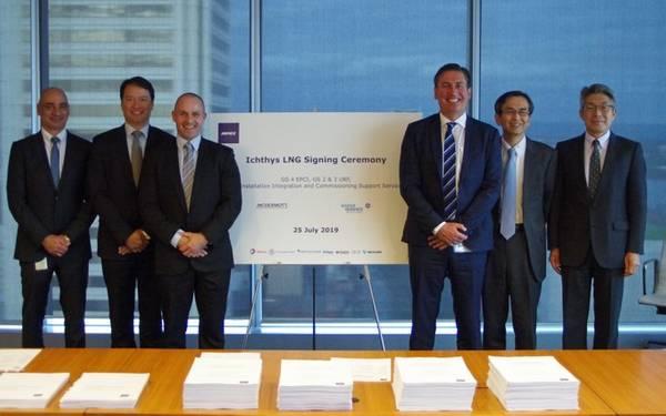 契約の署名で左から右に示されています:William Calligeros、McDermottカントリーマネージャー、オーストラリア、NZ&PNG。 Derek Price、BHGE地域セールスリーダー。 Graham Gillies、BHGE油田機器副社長。イアン・プレスコット、マクダーモットアジア太平洋地域上級副社長。 INPEXファイナンス&テクノロジーサービス担当副社長、岩下英樹氏。 INPEXアセットマネジメント担当副社長上田洋介(写真:マクダーモット)