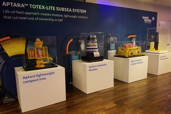 通用电气公司贝克休斯本周早些时候在休斯顿公布了其海底连接系统。该系统的主要部分是Aptara TOTEX-lite海底系统。 (图片来源:Jennifer Pallanich)