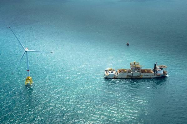 Acumulación de viento: turbina y embarcación de servicio, parte del aumento continuo de la energía eólica marina (Foto: GE)