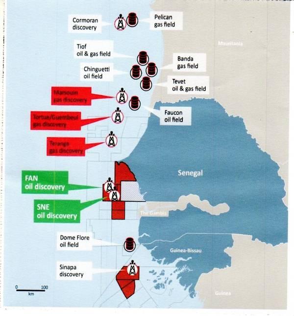 Algunos de los bloques costa afuera de Senegal donde se han anunciado recientemente descubrimientos (Crédito: FAR)