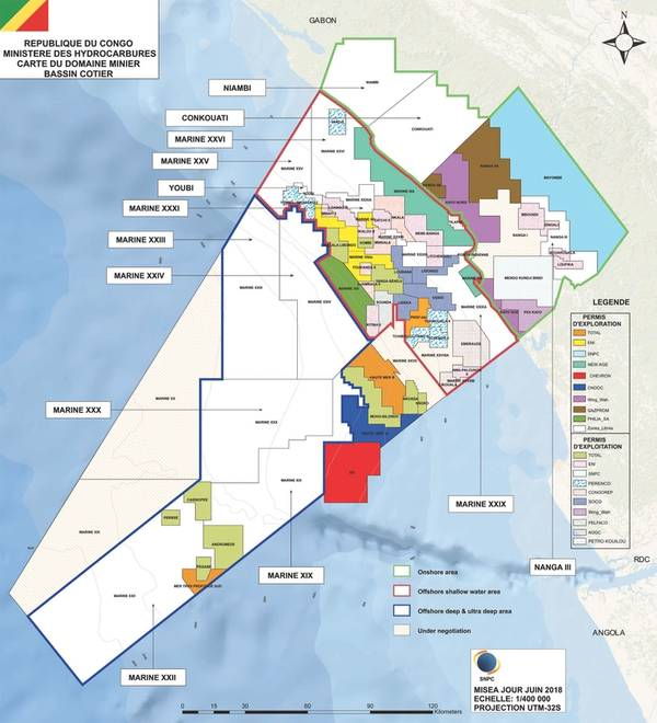 Blocos de petróleo e gás do Congo (Imagem: Ministério dos Hidrocarbonetos)