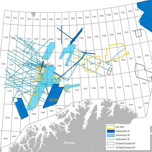 Dados prontos: parte de um mapa de pesquisa do mar de Barents no Ártico (Imagem: PGS)