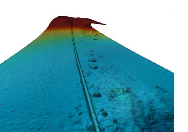 Imagem do gasoduto no fundo do mar, adquirida pelo sensor de sonda de eco de feixe múltiplo AUV. (Imagem: Swire Seabed)