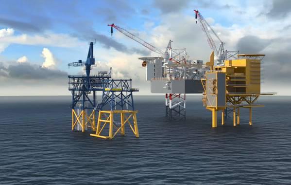 Mais alto: vista das plataformas Tyra II (Imagem: Total E&P Denmark)