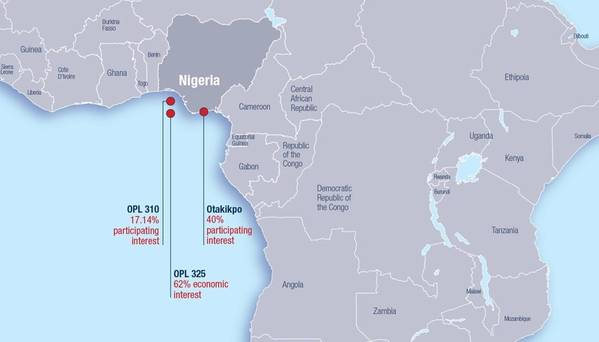 Mapa mostrando o OPL310 na Nigéria. (Imagem: LEKOIL)