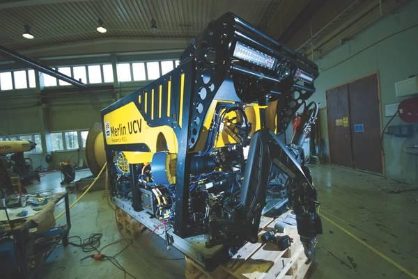 O Merlin UCV nas instalações da IKM em Bryne, perto de Stavanger, Noruega. (Foto: IKM Subsea)