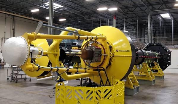 Pronto para implantação offshore, o PowerBuoy destinado a trabalhar na Premier Oil (Foto: OPT)