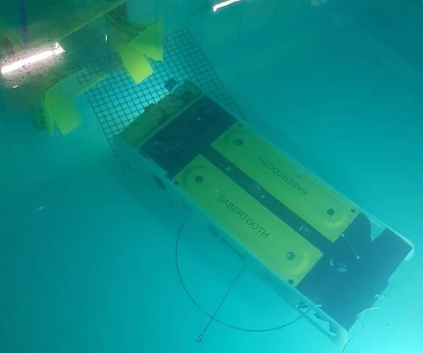 Saab SeaeyeのSabretoothをテストタンクに入れます(写真:Saab Seaeye)