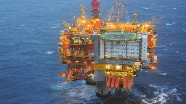 O Statfjord Uma plataforma no Mar do Norte. (Foto: Harald Pettersen / Equinor)