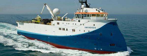 O navio Shearwater GeoServices Amundsen a ser implantado na Gâmbia. (Crédito: Shearwater)