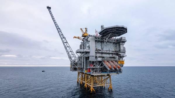 A plataforma Martin Linge no mar do Norte. (Foto: Jan Arne Wold / Woldcam - Equinor ASA)