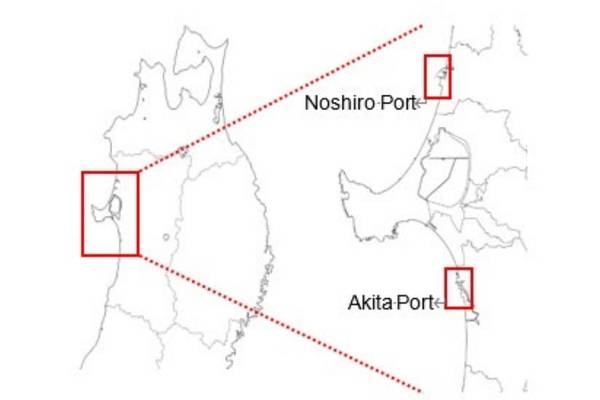 Akita Port and Noshiro Port in Akita Prefecture locations for the wind farms - Image by Marubeni