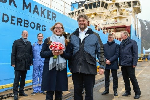 Godmother Rikke Eskjær and Olav Nakken, CEO of Kleven verft A/S after naming sereminy and delivery of Mærsk Maker. Photo: Olav Thokle - Fotomaritim