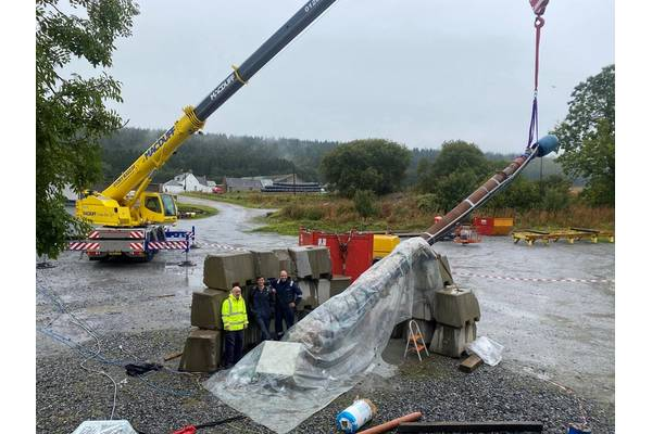 Preparing simulated downhole test rig with temperature and conductivity sensors. Photo from Rawwater