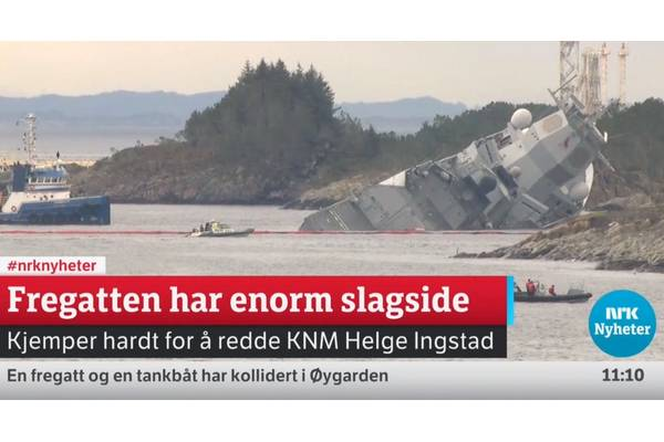 Sinking frigate (screenshot of NRK streaming coverage at https://www.nrk.no/. NRK is the Norwegian government-owned radio and television public broadcasting company)