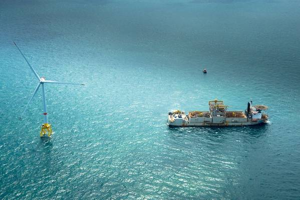 पवन का निर्माण: टरबाइन और सेवा पोत, अपतटीय पवन के निरंतर बढ़ने का हिस्सा (फोटो: GE)