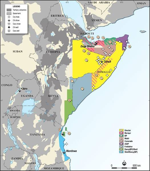 Eine Karte mit Somalias strategischen Offshore-Ölblöcken in Ostafrika; Kredit, Geo Expro.