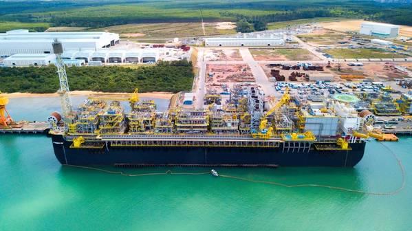 O P-68 será implantado nos campos de águas ultraprofundas de Berbigão e Sururu, na Bacia de Santos, no Brasil. (Foto: Sembcorp Marine)
